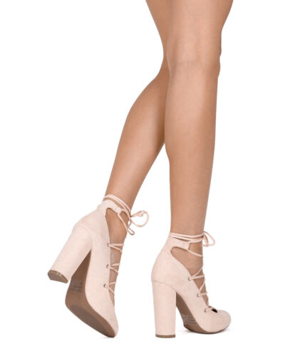 New Women Wild Diva Lounge Blossom-03 Faux Suede Lace Up Block Heel Pump