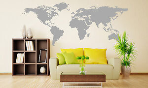 X large world map wall sticker home decor decal uk rui164 ebay image is loading x large world map wall sticker home decor gumiabroncs Gallery
