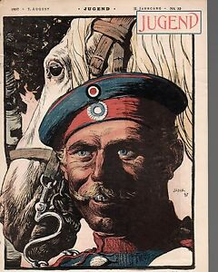1897-Jugend-August-7-German-Art-Nouveau-Cover-Soldier-and-horse-Jank-Graf