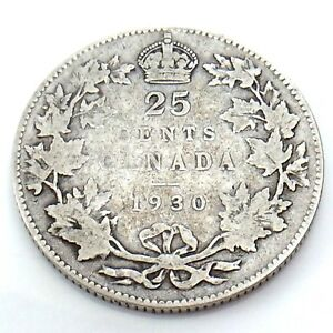 1930-Canada-25-Twenty-Five-Cents-Quarter-Silver-King-George-V-Canadian-Coin-G750