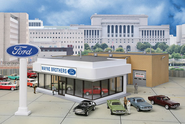 HO Scale Wayne Brothers Ford Dealership Structure Kit - Walthers #933-3483