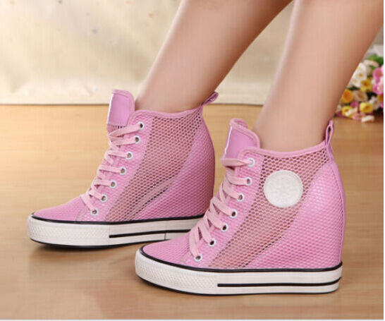 Ladies High-Top Mesh Lace Up Hidden Wedge Heels Sneakers Girls Hollow Out shoes
