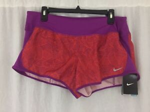 Women-purple-orange-dri-fit-running-shorts-with-liner-Nike-719887-Size-L-New-Tag