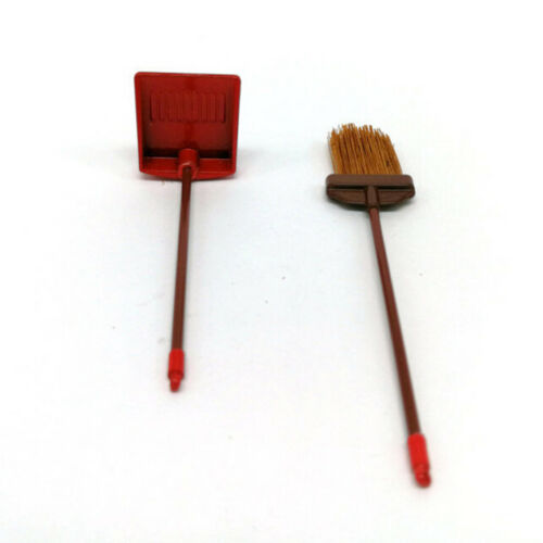 1:12 dollhouse miniature red metal long handles broom and dust pan set ^P