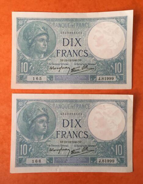 """10 Francs 1940 """" Minerve """" 12 Fevrier 1940 France Lot Deux Billets Consecutifs. Pas De Frais à Tout Prix"""