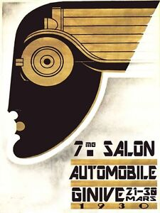 geneva switzerland automobile car 1930 art deco vintage poster repro free s h. Black Bedroom Furniture Sets. Home Design Ideas