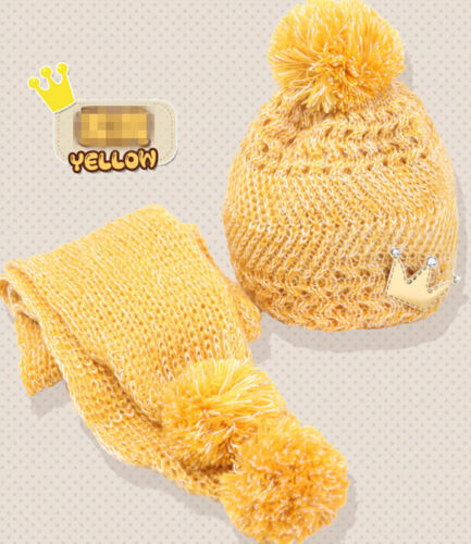 Baby Cute Girls Boys Kids Warm Winter Knit Wool Hat Scarf Set Crown Beanie Cap