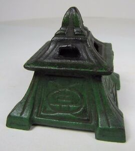 Antique-Vantines-Pagoda-Incense-Burner-Art-Deco-c1920s-Cast-Iron-Decorative-Art