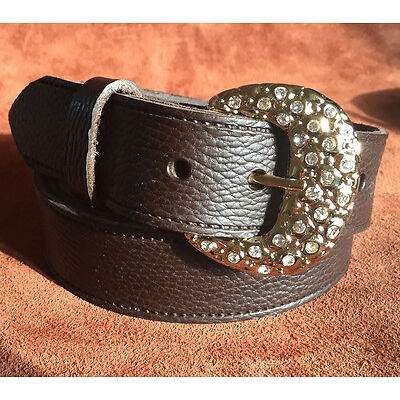 Brown Belt 1-1/2 Inch 38mm Quality Nugget Real Leather Hand Made Belts xxxxl DR1