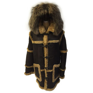 BROWN OLD SCHOOL SHEARLING SHEEPSKIN TOGGLE BUTTONS COAT, FINLAND ...