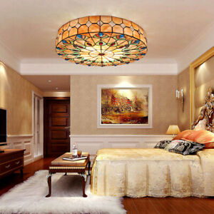 Peacock Tail Modern Tiffany Flush Mount Ceiling Light Stained Glass Chandelier Ebay