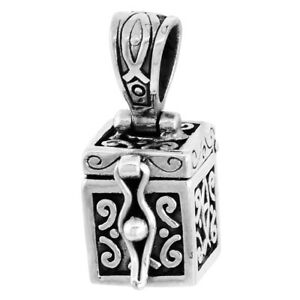 Sterling silver prayer box with christian fish pendant charm 38 ebay image is loading sterling silver prayer box with christian fish pendant aloadofball Choice Image