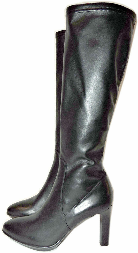 725 Aquatalia-Marvin Black Stretch Tall Leather  Boot Rumbah Zipper Booties 10
