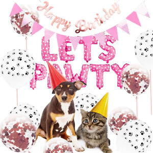 Pet-Dog-Birthday-Party-Supplies-LETS-PAWTY-Balloons-Banner-Paw-Print-Decoration
