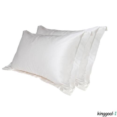 2pcs taies oreiller en satin soyeux literie équipée taie en soie coussin plaine