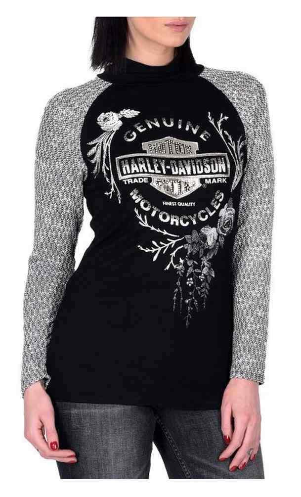 Harley-Davidson Woherren New Harvest Embellished Mock Neck Raglan Top, schwarz