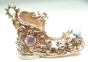 Art-Deco-Antique-Retro-14K-Yellow-Gold-Boot-Shoe-Gemstone-Charm-9-Grams-1-034-x4-034-x9-034