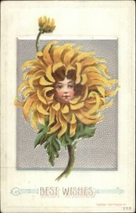 Child-039-s-Face-in-Flower-P-Sander-Fantasy-232-c1910-Congratulations-Postcard-2