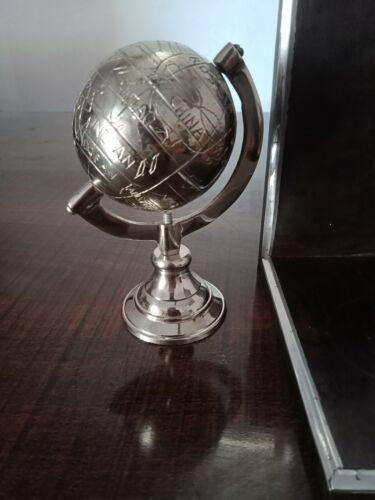 Antique Brass Silver Globe Nautical World Geographic Mini Globe