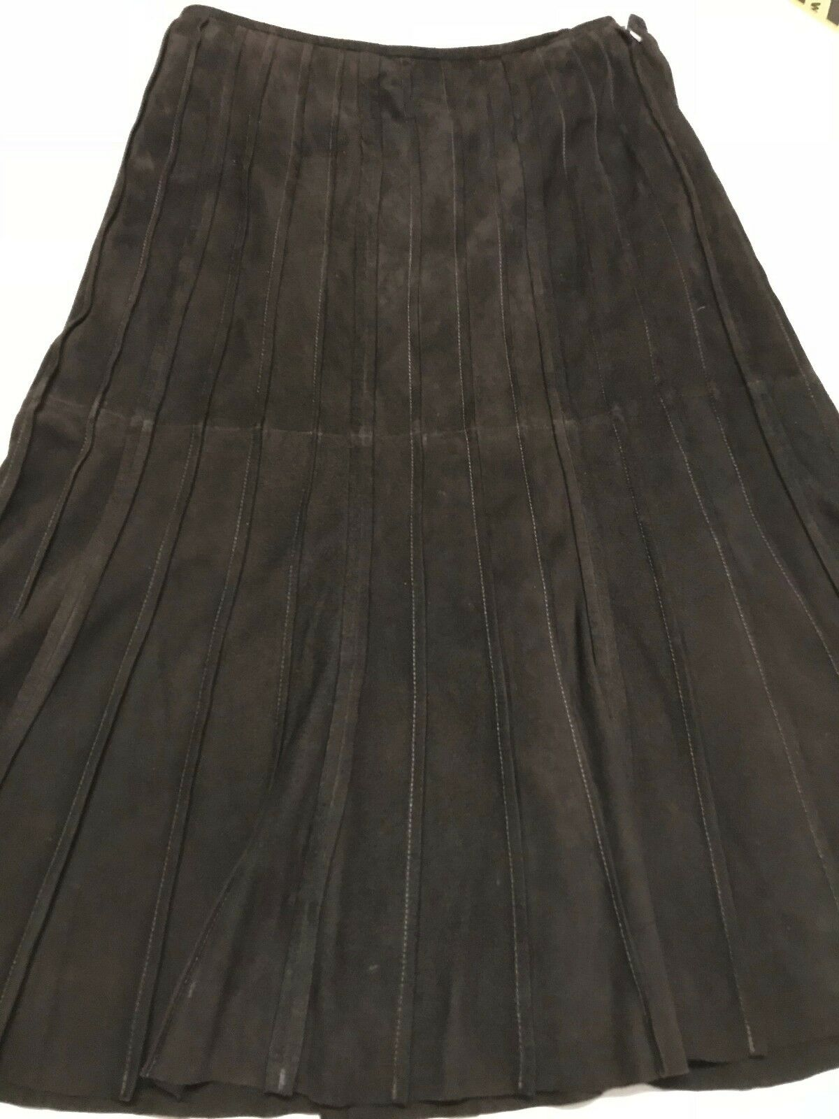 Lafayette 148 Women's Skirt Brown Suede Luxurious Skirt Size 8