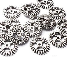 25 x 12mm Silver Plated Gear Cog Wheel Watch Part Charm Embellishments Steampunk