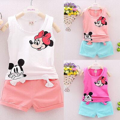 2PCS Toddler Kids Baby Girls Sleeveless T-Shirt+Shorts+Belt Outfits Clothes Set