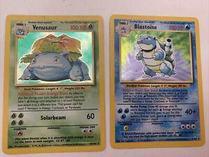Pokemon Venusaur Blastoise Base 15/102 3/102 HOLO RARE 1998 BISAFLOR Turtok EN
