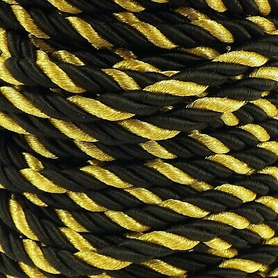 3m of Silky 5mm lacing Curtain Cushion Cord Black and Gold Christmas Craft