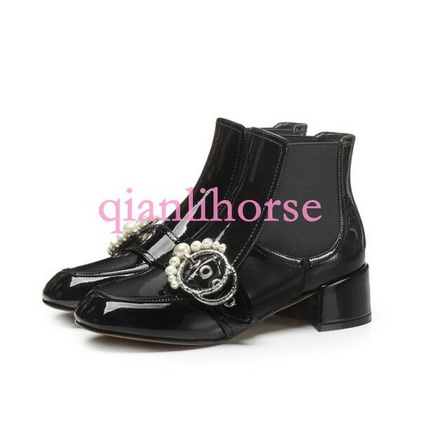 Women Pearl Buckle Pull on Patent Leather Suede Ankle Ankle Ankle Boots Block Metallic shoes 1387db