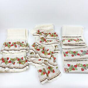 vtg sears perma press 7 pc. curtain drapes set strawberry