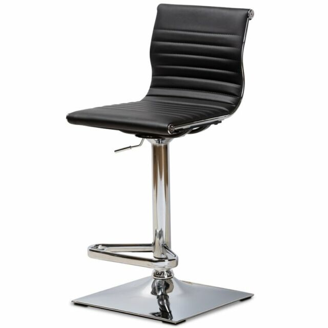 Excellent Baxton Studio Vanni Adjustable Faux Leather Swivel Bar Stool In Black Uwap Interior Chair Design Uwaporg