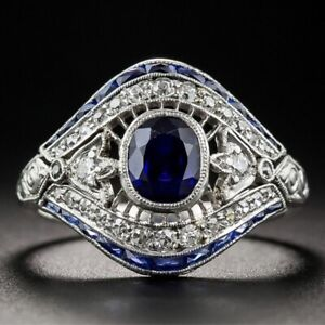 Vintage-Ringe-Blau-Zirkon-Saphir-Ring-Damen-Mode-Hochzeit-Fingerringe-Schmuck