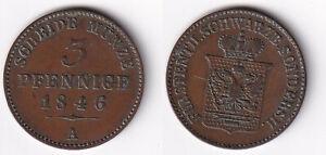 . 3 Pfennig 1846 A Schwarzburg-Sondershausen Günther Friedrich Carl II. Jg. 71