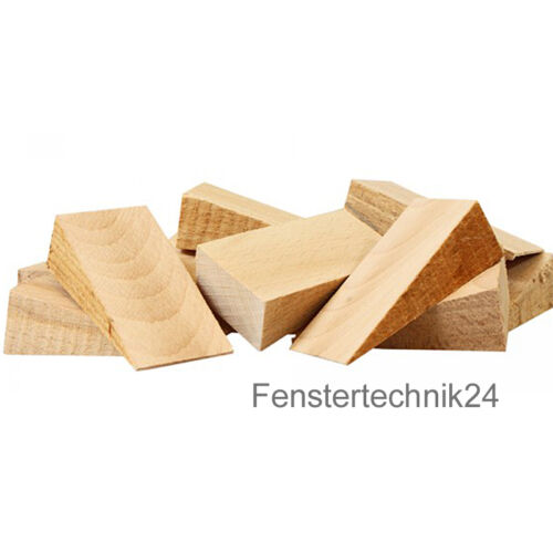 100 Holzkeile Hartholz Buche 80x40x25mm Montagekeile Möbelkeile Baukeile