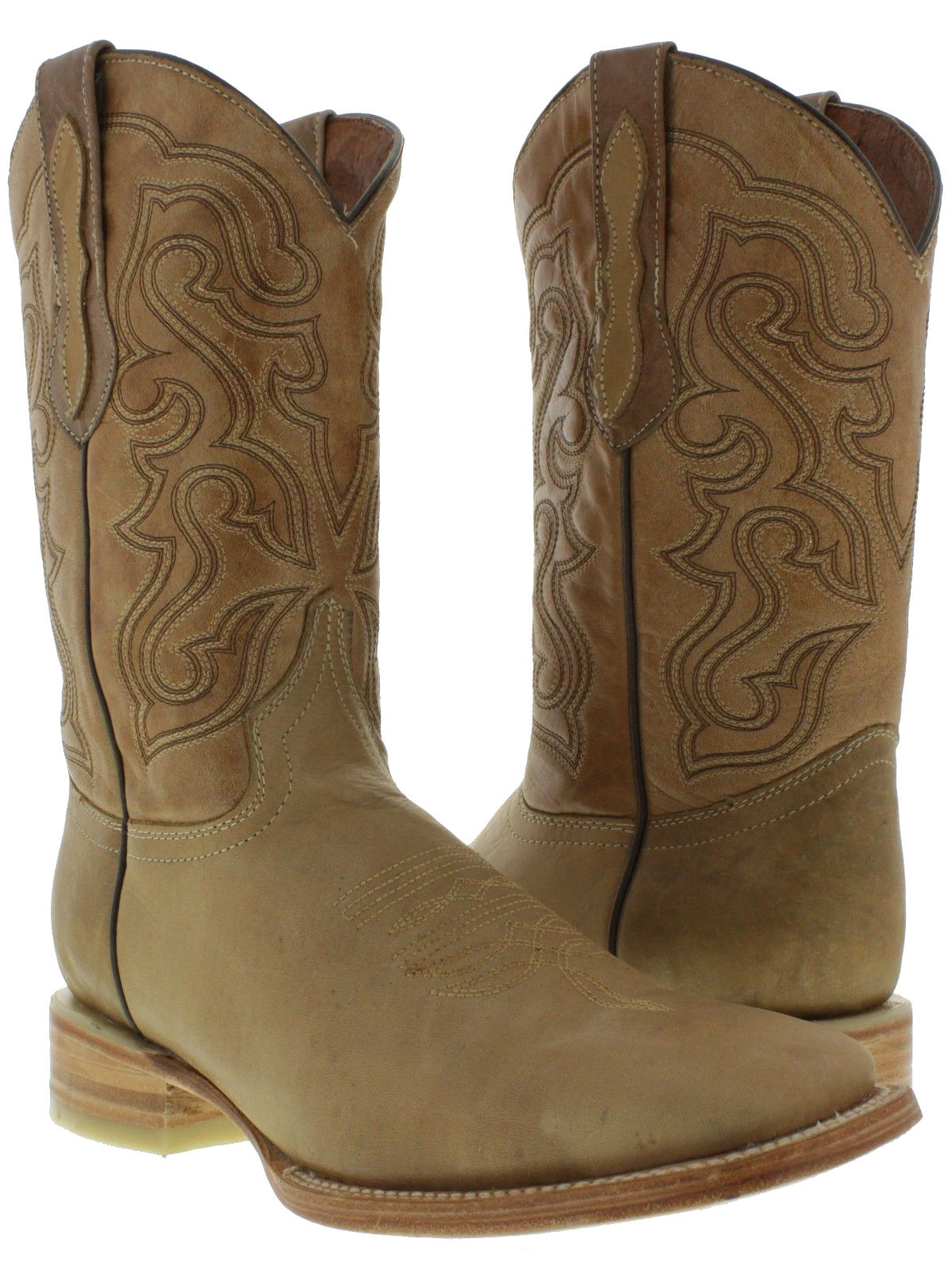 Mens Real Leather Sand Plain Classic Stitch Cowboy Boots Riding Square Toe