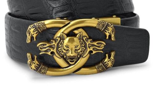 Mens Designer ceintures pour hommes automatique Wolf laiton CEINTURE LUXE Noir Auto Cuir