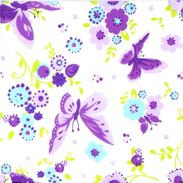 20x Lunch Paper Napkins Serviettes Party, Decoupage - Vintage Butterfly
