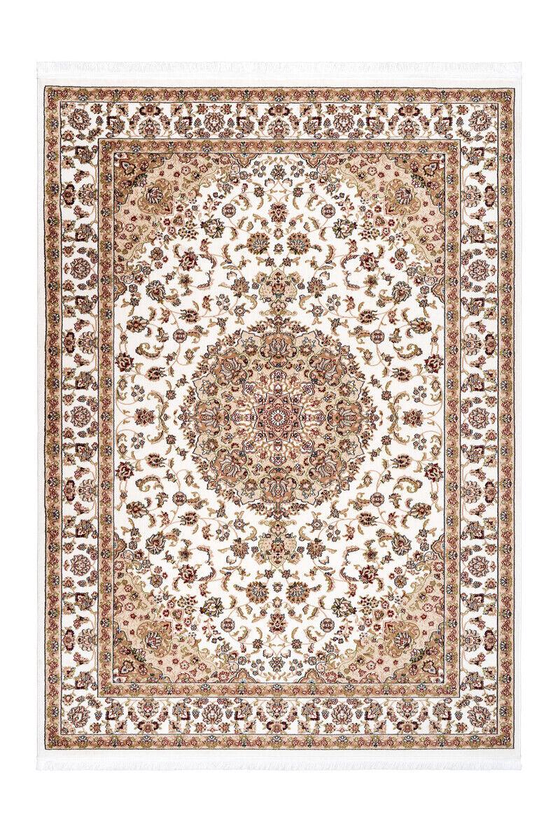Oriental Franges Tapis Fioritures Ornement Beige Blanc Rouge 240x330cm