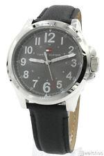 New Tommy Hilfiger Steel Case Black Leather Band Men Dress Watch 45mm 1791150