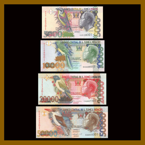 St 4 Pcs Set Saint Thomas /& Prince 5000-50000 Dobras 1996-2004 P-65-68 Unc