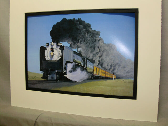 Union Pacific # 8444 Artist Illustrated  Color Steam Railroad Archives Hw