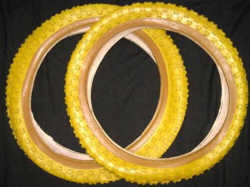 "PAIR of GOODYEAR YELLOW 16/"" x 2.125 BMX Bicycle Tyres Amber Wall Burner Bike 2x"