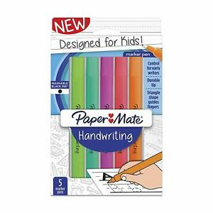 Paper-Mate-Handwriting-Triangle-Shape-Marker-Pens-Washable-Black-Ink-5-Count