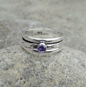 Amethyst-Solid-925-Sterling-Silver-Spinner-Meditation-Statement-Ring-Size-M424
