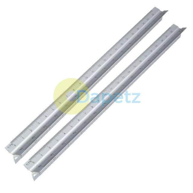 "30cm//12/"" Triangular Aluminium Tri Scale Metal Ruler Architect Engineers Rule New"