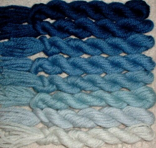 Colonial Wool 3ply Persian Needlepoint Crewel Yarn 1500 Federal Blue Family