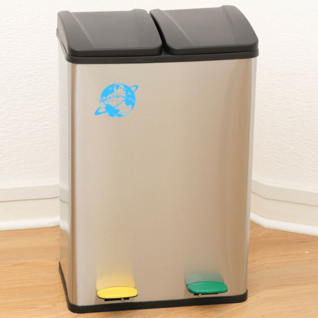 2 In 1 Kitchen 60L Stainless Steel Compartment Recycling Rubbish Waste  Pedal Bin