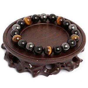 Women-Men-Unisex-Tiger-Eye-Hematite-Black-Obsidian-Natural-Stone-Bracelet