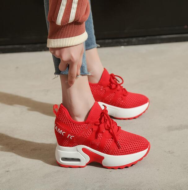 Ladies Platform High Wedge Heel  Sport Breathable Shoes Lace Up Hollow