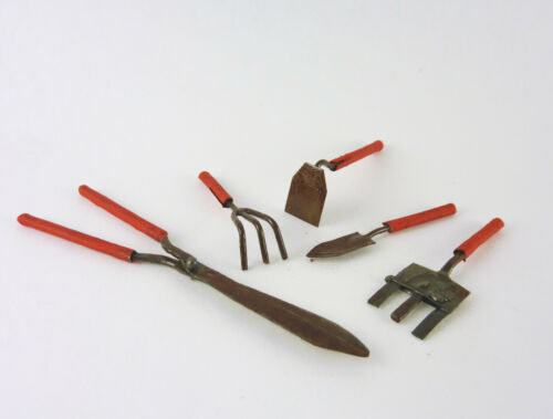 Dollhouse Miniature Fairy Garden Set of 5 Red Metal Tools, 01340